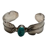 Charlene Dishta Zuni Native American Sterling Silver Turquoise Cuff Bracelet
