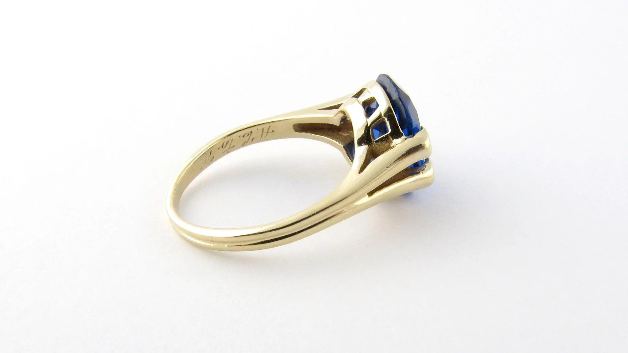 vintage 14k yellow gold and synthetic blue sapphire ring size 6 5   gold and silver brokers