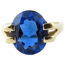Vintage 14K Yellow Gold and Synthetic Blue Sapphire Ring Size 6.5