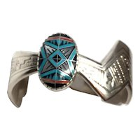 Vintage Navajo RMT Sterling Silver Cuff Bracelet with Multi Stone Inlay