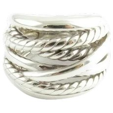 David Yurman Sterling Silver Wide Crossover Cable Ring Band Size 4.25