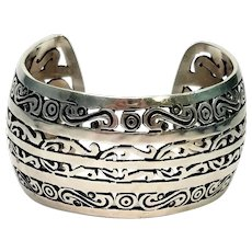 Vintage Sterling Silver Wide Scroll Design Cuff Bracelet Mexico MMA