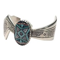 Roderick Tenorio Relios Sterling Silver Morning Star Inlay Cuff Bracelet