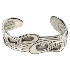 Kit Carson Sterling Silver Engrave Wave Pattern Cuff Bracelet