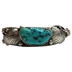 Native American E. King Layered Turquoise Sterling Silver Cuff Bracelet