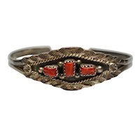 Native American Marie B Sterling Silver Coral Cuff