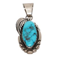 Native American M. Tsosie Sterling Silver Turquoise Pendant