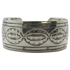 Native American Gilbert Begay Sterling Silver Stamped Cuff Bracelet