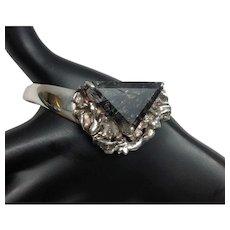 Taxco Mexico Sterling Silver Tourmalinated Quartz Cuff Bracelet, TC-10 Cisneros