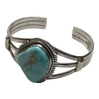 J. Nelson Native American Sterling Silver Turquoise Cuff Bracelet