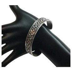 Geneva Ramone Navajo Stamped Oxidized Sterling Silver Cuff Bracelet