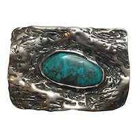 Native American Sterling Silver Turquoise 2 Bale Rectangle Pendant By MB