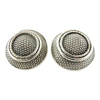 John Hardy Sterling Silver Large Round Mesh Button Earrings Clip On