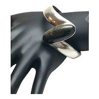 Vintage Sigi Pineda, Taxco Sterling Silver Obsidian Hinged Bracelet