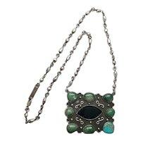 Taxco Mexico Rodolfo Espinoza REH Sterling Silver Multi Stone Pendant Necklace