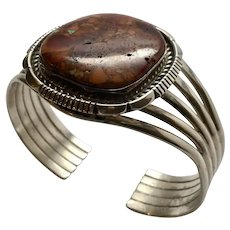 Native American Sterling Silver Natural Ocean Jasper Cuff Bracelet, Signed