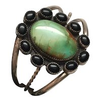 Native American Gary Sanchez Sterling Silver Turquoise Black Onyx Cuff Bracelet