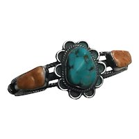 Wallace Yazzie Jr. Navajo Sterling Silver Turquoise Spiny Oyster Cuff Bracelet