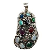 Native American Large Sterling Silver Bezel Set Multi Stone Pendant, Signed