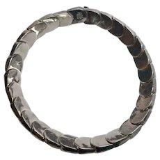 ALICIA Taxco Mexico 970 Silver Scalloped Concave Link Choker Necklace TO-40