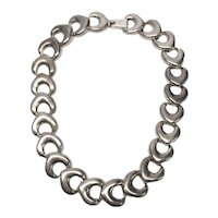 Mexico Sterling Silver Heavy Link Collar Necklace
