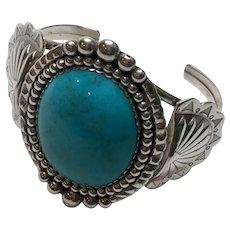 Verna Blackgoat Navajo Sterling Silver Turquoise Cuff Bracelet