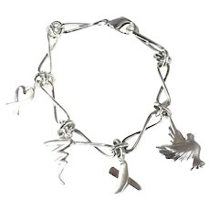 Tiffany & Co Sterling Paloma Picasso Charm Bracelet Dove Heart Kiss Scribble