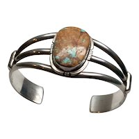 Philip Sanchez Navajo Royston Ribbon Turquoise Sterling Silver Cuff Bracelet
