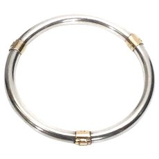 Elizabeth Prior Sterling Silver and 14K Gold Bangle Bracelet