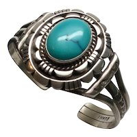 IHMSS Wes Craig Native American Sterling Silver Turquoise Cuff Bracelet