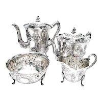 Vintage Royal Irish Silver Co 4pc Sterling Silver Dairymaid Tea and Coffee Set, No Monogram