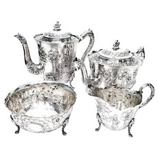 Vintage Royal Irish Silver Co 4pc Sterling Silver Dairymaid Tea and Coffee Set, No Monogram