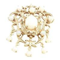 Vintage 14 Karat Yellow Gold and Opal Brooch/Pendant