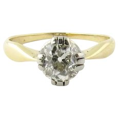 Antique Victorian 14K Yellow and White Gold Old Mine Engagement Ring Size 6.25