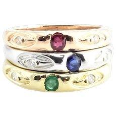 Vintage 14 Karat Yellow, Rose and White Gold Stacking Rings Size 7