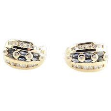 Vintage 14 Karat Yellow Gold Sapphire and Diamond Earrings