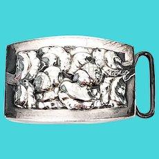 Antique Sterling Silver Georg Jensen Denmark Acorn Belt Buckle #67