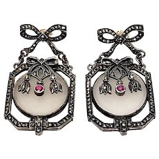 Vintage Sterling Silver Camphor Glass Marcasite and Ruby Art Deco Earrings