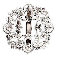 Victorian Sterling Silver Filigree Belt or Sash Buckle