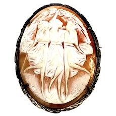 Vintage 800 Silver Gold Vermeil Three Ladies Dancing Cameo Brooch/Pendant
