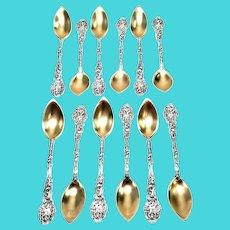Set of 12 Antique Sterling Silver Gorham Versailles Fruit/Orange Spoons, Gold Wash Bowl, No monogram