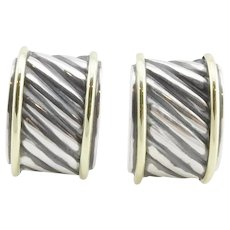 David Yurman Sterling Silver and 14K Gold Cigar Band Cable Earrings