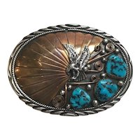 Archie Martinez Navajo Sterling Silver And Gold Turquoise Belt Buckle