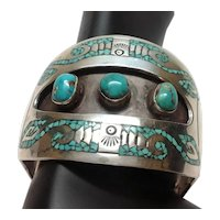 Navajo Charlie John Silver Cuff Bracelet With Inlay And Three Turquoise