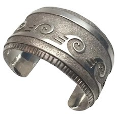 Native American Sterling Silver Rolling Waves Cuff Bracelet By T.