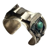Native American Eugene Seely Sterling Silver Turquoise Watch Cuff