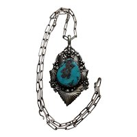 Navajo Clem Nalwood Silver And Turquoise Pendant Necklace