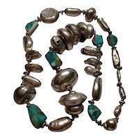 Handmade Native American Silver Puffy Hollow Bead And Turquoise Chunk Necklace