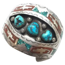 Native American Signed PT Sterling Silver Turquoise And Coral Cuff Bracelet