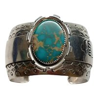 Native American Sterling Silver Raised Turquoise Cuff Bracelet By EM